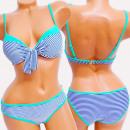 wholesale Swimwear: 4622 Women Swimsuit, Striped & Turquoise