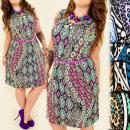 hurtownia Fashion & Moda: FL522 Letnia  Sukienka, Plus Size, Złote Guziki