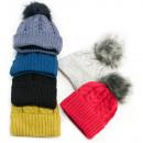 Großhandel Kopfbedeckung: Warme Damen, Mütze. Hut, Bommel und Vlies, 5097