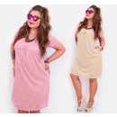 BI738 Lace Dress with Button, Plus Size
