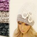wholesale Headgear: FA11 BEAUTIFUL,  plaited CAP, with flowers, alpaca