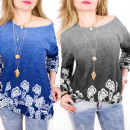 Großhandel Hemden & Blusen: C11421 Lose warme Tunika, Ombre, 3D-Muster