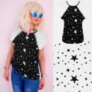 Großhandel Shirts & Tops: 4661 Baumwollhemd, Top, Bluse, Sterne schwarz