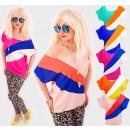 D14104 Lose Sommer Damen Bluse, Regenbogen Muster
