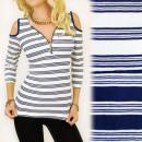 wholesale Fashion & Apparel: BI498 Fashionable,  Navy Blouse, Tears On Shoulders