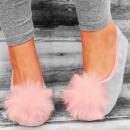 4328 Lovely Ladies Ballerina Slippers, Fur Tassel