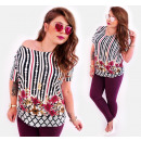 4515 Colorful Plus Size Women Blouse Retro Pattern