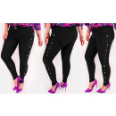 4469 Women's leggins, stripe with pearls and b