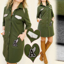 BI233 LOSSE  TUNIEK, militaire stijl, shirtdress
