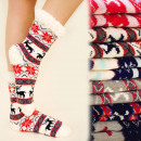 4131 Winter Socks with Fur, ABS Slippers, Reindeer