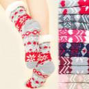 groothandel Schoenen: 4178 Warme lange  sokken, ABS-sloffen, bont