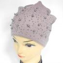 Großhandel Fashion & Accessoires: CZ12 warme Damenmütze mit Perlen und Strass