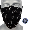 Protective face mask, smile, straps.