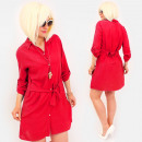 R92 Tied Dress, Loose Tunic, Shirt Style, Red