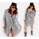 A836 Long Women Cardigan, Knotted Fabric
