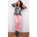 Großhandel Hosen: B16680 Gewachste Damenhose, Große Größen, Candy Pi