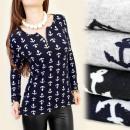 Großhandel Hemden & Blusen: C11127 BLOUSE,  TUNIKA, MUSTER ANKER, GOLD SLIDE