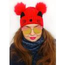 Großhandel Kopfbedeckung: C1979 Schöne Damenmütze mit Katze, Winter
