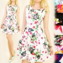 Großhandel Fashion & Accessoires: BI474 Romantisches  Kleid, Blumen und goldene Schie