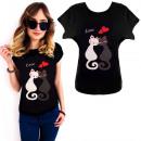wholesale Fashion & Apparel: K550 Cotton T-Shirt , Top, Cats Love, Black