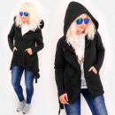 Großhandel Pullover & Sweatshirts: 4494 Langer Hoodie, dekorative Träger