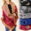 Großhandel Kurzwaren & Handarbeit: FL296 Ample Schal - kariertes, Bettdecke, Wolle