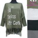 hurtownia Fashion & Moda: Damska Tunika Oversize, Frędzle i Nadruk UNI, 5259