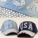 wholesale Headgear: FL199 glamorous  HAT, Basecap JEANS, SILVER USA