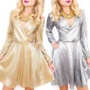 Großhandel Kleider: C24154 Einzigartiges Goldkleid, Glossy ...