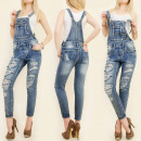 wholesale Jeanswear: B16518 DUNGAREES  JEANS, OVERALL, FASHION HOLES
