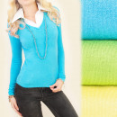 C17212 Elegant  Set, Sweater + Blouse, Colors