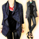 grossiste Manteaux et vestes: 4393 Loose Women Jacket, Cardigan, Col Ondulé