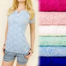 wholesale Fashion & Mode: BI412 LOVELY LACE  BLOUSE, V NECK, PEARL