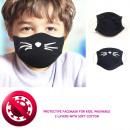 Beschermend masker voor kinderen 4-8, 2 lagen, kat