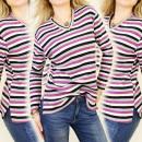 Großhandel Hemden & Blusen: K278 HEAT BLOUSE V-Ausschnitt, Streifenmuster, CAS