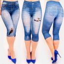4510 Frauen Leggings Jeans, Mit Löchern und Aufdru