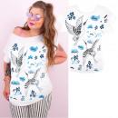 Blusa, grullas y flores de algodón, tallas grandes