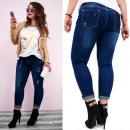 B16788 Trendy Damen Plus Size Jeans, Aufnäher