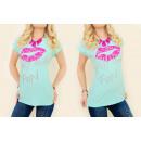 Großhandel Shirts & Tops: K392  Baumwollbluse, TOP NEON JUICY KUSS