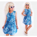 D1448 Summer Dress, Loose Fit, Shades of Blue