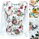 Cotton Women's Sweatshirt, S-XL, Flowers R155