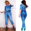 Großhandel Hosen: BI665 Loose, Feminine Overall, Jeans, Baumwolle