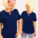 Großhandel Shirts & Tops: C11555 Bluse, Top, charmanter Ausschnitt, Sommermu