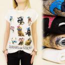 K315 blusa del algodón, TOP, perritos encantadores