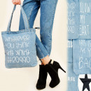 T36 Shoper Bag, Light Blue Jeans Bag, Prints