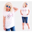 K610 Bluse, Hemd, Übergröße, Rosa Fahrrad, Weiß