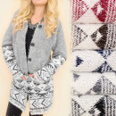 C17282 Behaarte Strickjacke, Strickjacke, norwegis