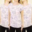 K330 blusa del  algodón, TOP, arabescos FLORES PR