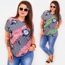 Großhandel Hemden & Blusen: C11536 Plus Size Damenbluse, Diagonalstreifen
