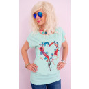 K621 Cotton Women Shirt , Top, Heart With Feathers
